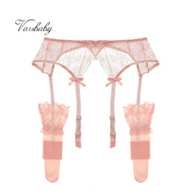 Varsbaby sexy floral lace bow underwear high quality S M L XL 2 pcs garters+stockings for women