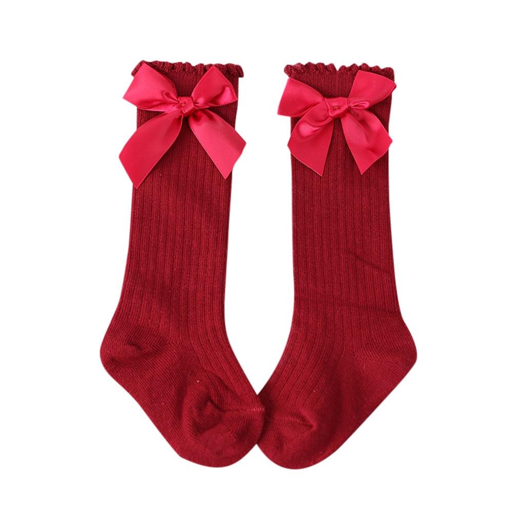 2019 New Kids Socks Toddlers Girls Big Bow Knee High Long Soft Cotton Lace Baby Socks Kids 0-4 Years Kniekousen Meisje Meias