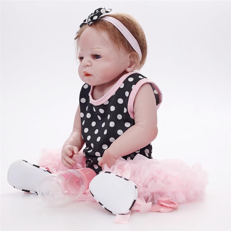 Bebes Reborn poupée 55 CM vivant réaliste bébé poupées réaliste nouveau-né bébé poupée LOL poupées accompagner poupées de mode poupées pour enfant - 5