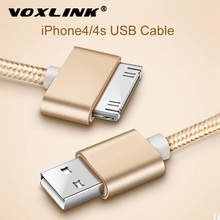 VOXLINK USB Cable Nylon Braided fast charge cable for iPad 1 30 pin Metal plug Sync Data USB Charger Cable For iphone 4 4S 3GS
