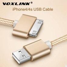 Voxlink cabo usb náilon trançado cabo de carga rápida para ipad 1 30 pinos de metal plug sincronização de dados cabo de carregador usb para iphone 4 4S 3gs