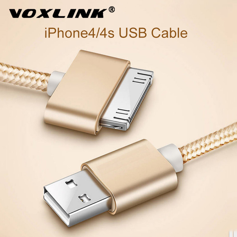 Voxlink cabo usb náilon trançado cabo de carga rápida 30 pinos metal plug sincronização de dados usb carregador cabo para iphone 4 4S 3gs ipad 1 2 3