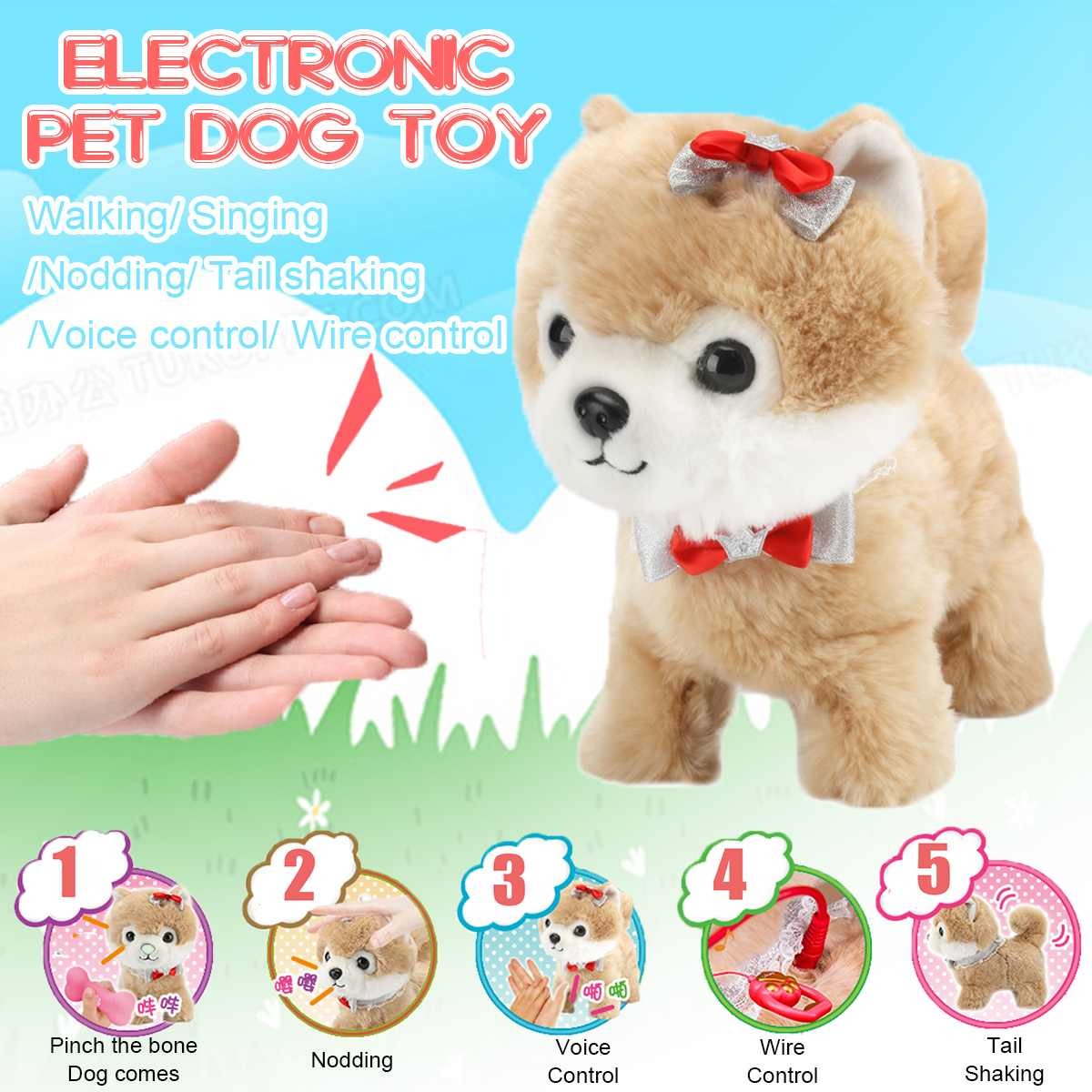 Robot Dog Sound Control Interactive Dog Electronic Toy Plush Puppy Pet Walk Bark Leash Teddy Toy For Kids Children Birthday Gift