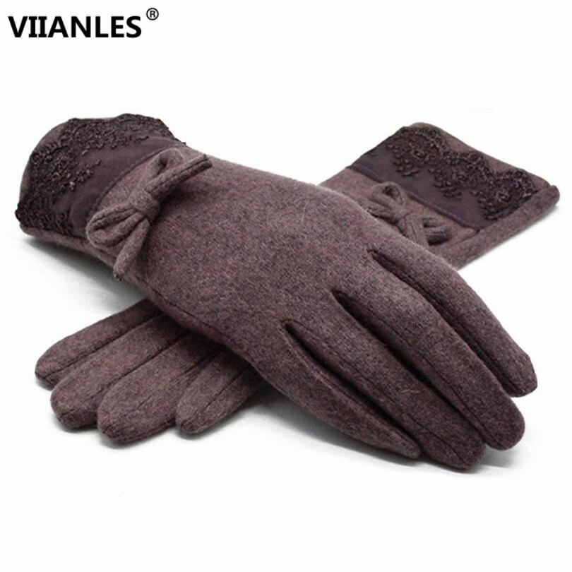 VIIANLES Lace Cashmere Mittens Women Fashion Keep Warm Winter Warm Full Finger Gloves Ski Wind Protect Hands Comfortable Gloves