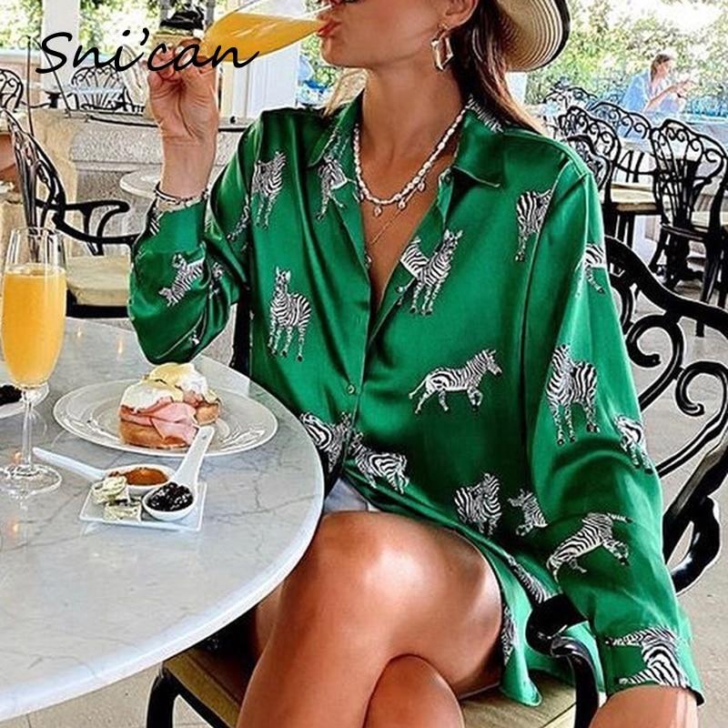 women satin blouse long sleeve zebra print shirts vintage office ladies tops femme chandails za 2020 fashion blusa de mujer ins 1
