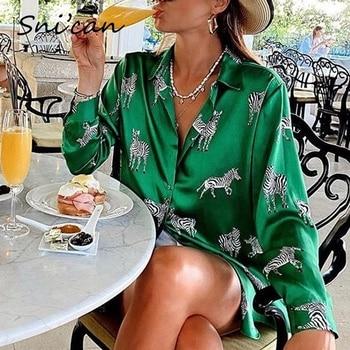 Blusa de satén con estampado de cebra para mujer, camisa de manga larga con estampado de cebra para oficina, Estilo vintage, 2020 1