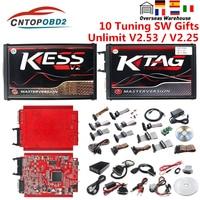 Online V2.53 V5.017 OBD2 Gerente KESS ECU Tuning KESS V2 Vermelho UE K-TAG 7.020 4 LED 2.25 Auto ECU Programador programador BDM QUADRO