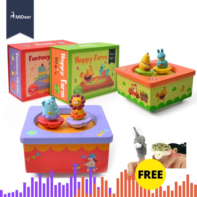 MiDeer Baby Wooden Music Box Happy Farm Dancing Animal Beautiful Tune Kids Educational Toys For Children Christmas Birthday Gift
