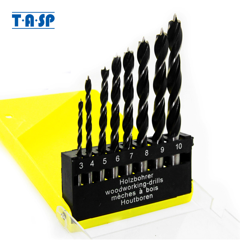 TASP 8pcs Wood Drill Bit Brad Point Drilling Set 3mm ~ 10mm For Woodworking - MDBK008