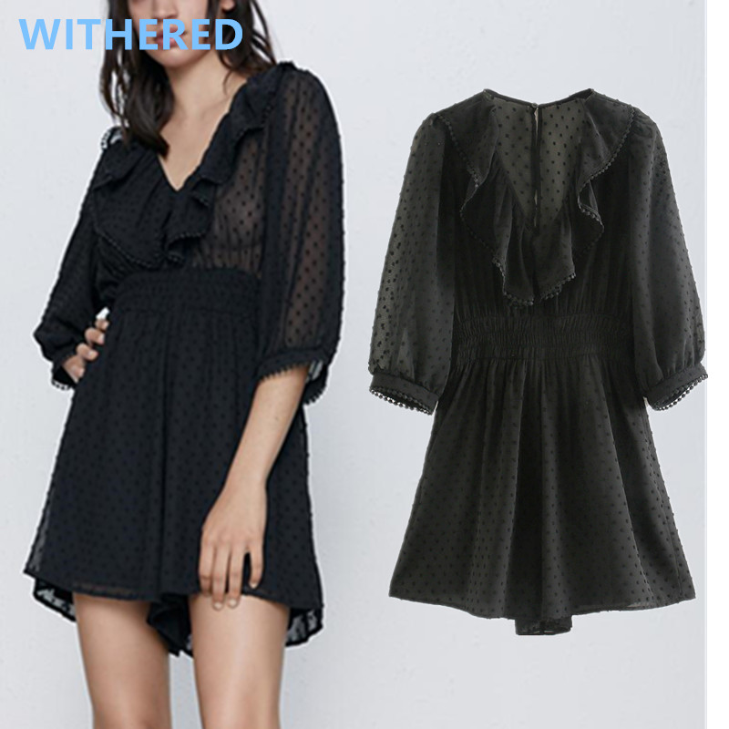 Withered 2020england style vintage gauze polka dot cascading sexy perspective playsuit women combinaison femme combinaison femme