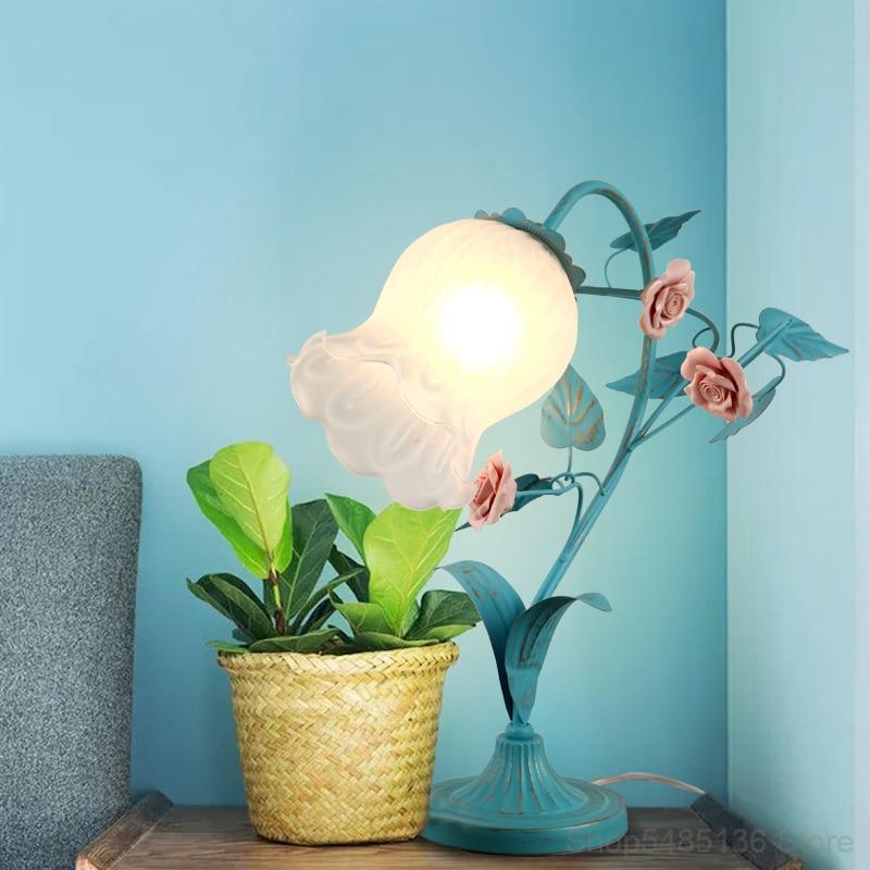 coreano de vidro rosa flor mesa luz 04
