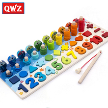 QWZ Montessori Educational Wooden Toys For kids Board Math Fishing Count Number Matching Digital Shape Match Early Education Toy