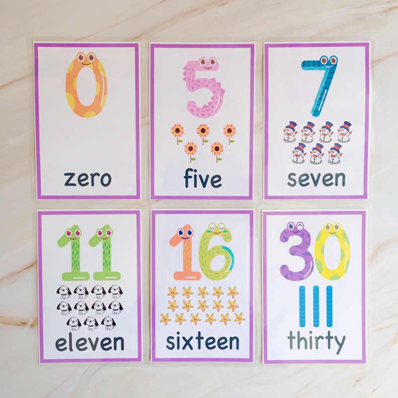 29 шт. обучение маленьких детей слово номер для изучения математики цифровая вспышка карты когнитивные карточки для детей Монтессори карты для чтения