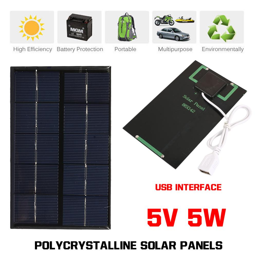 5W 5V Solar Panel Mini Fast Charger USB Solar Panels Charging Solar Cell Outdoor Climbing Climbing USB Port Tablet Solar Charger