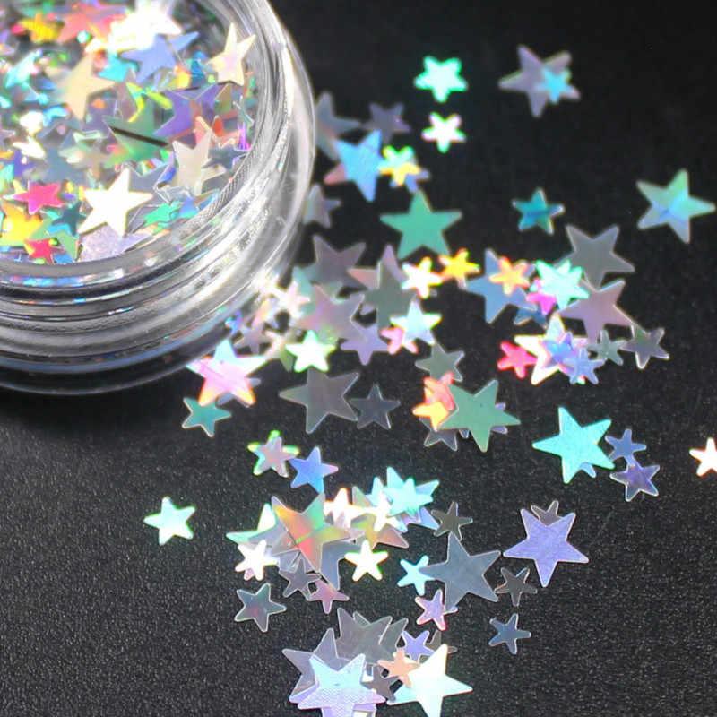 Polvo de flor estrella del corazón con brillantes diamantes de imitación Kawaii, 1 frasco, conjuntos de adhesivos para uñas, accesorios de decoración para manicura, suministros para manualidades DIY