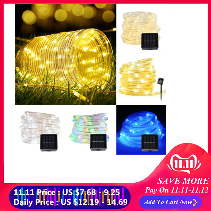 7M/12M LED Solar Lamps 50/100 LEDs Rope Tube String Lights Fairy Holiday Christmas Party Outdoor Solar Garden Waterproof Lights