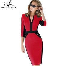 Nice forever Office Women Zipper fashion Patchwork V neck vestidos Wear to Work Formal bodycon Business Dress 837