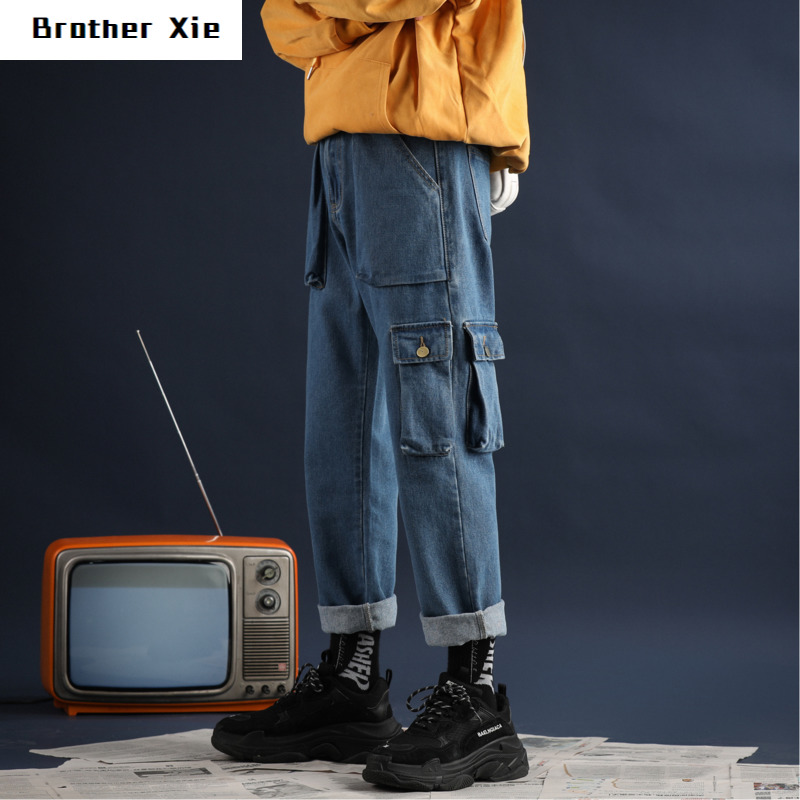 Autumn New Jeans Men Fashion Washed Solid Color Casual Straight Denim Trousers Man Streetwear Wild Hip Hop Loose Tooling Jeans