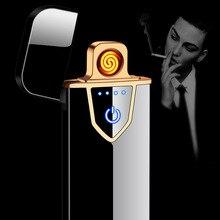 USB טעינת מגע חישה מתג דו צדדי מצית Windproof Flameless אלקטרוני סיגר סיגריות אין גז מציתים חשמלי
