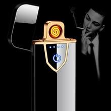 Usb Opladen Touch Sensing Switch Dubbelzijdig Aansteker Winddicht Vlamloze Elektronische Sigaar Geen Gas Elektrische Aanstekers