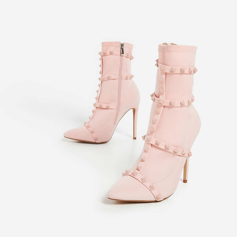 Studded Detail Sock Boot In Pink Lycra High Heels Stiletto Pointy Toe Fall Shoes Zipper Rivet Solid Multiple Color Booties Ankle
