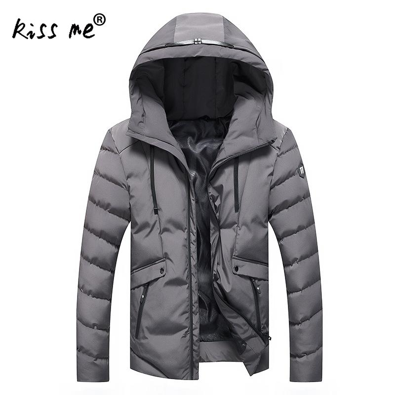 Solid Cotton Down Coat Hooded Casual Outdoor Down Jacket Winter Thermal Warm Windproof Overcoat Autumn Slimming Jacket Male
