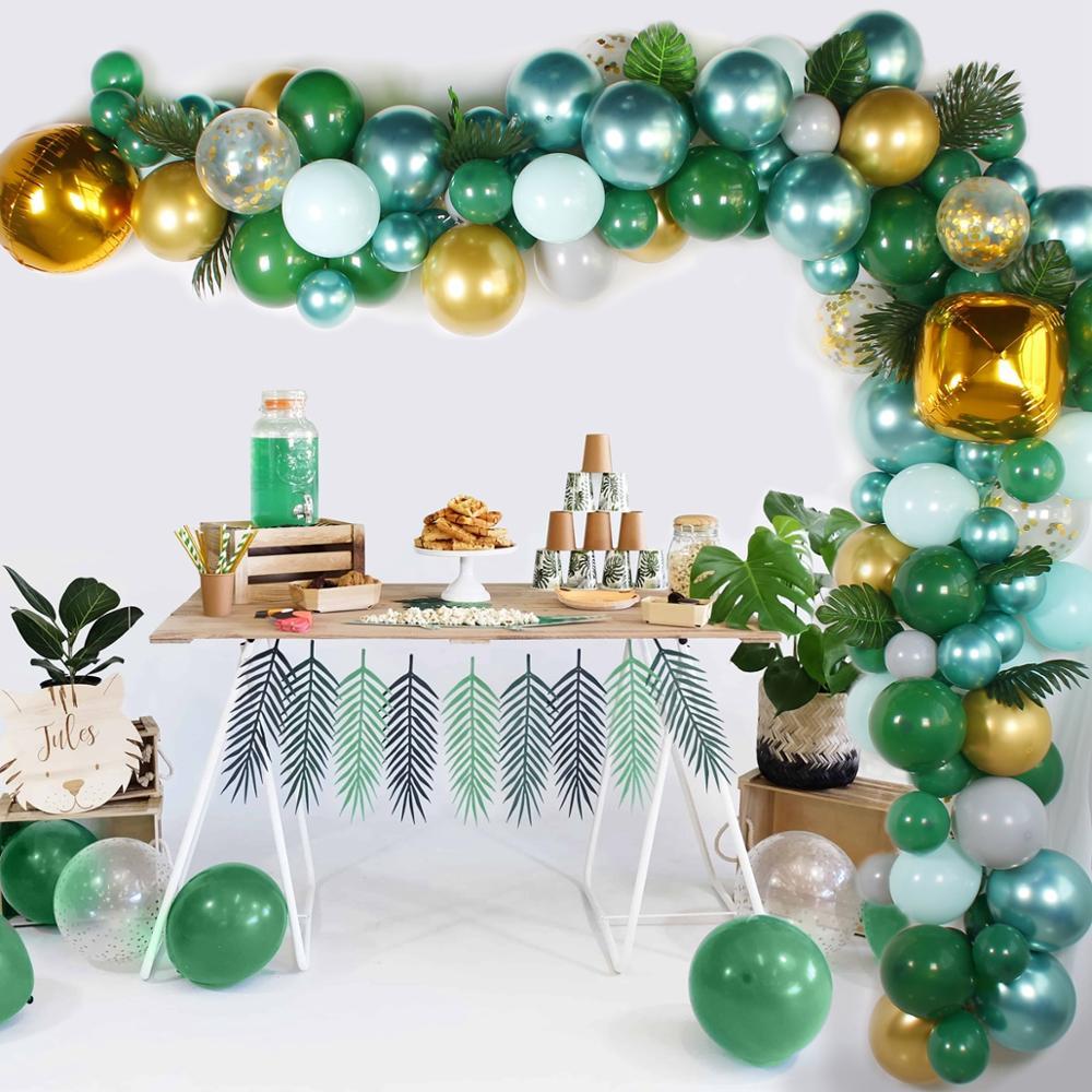 Clearance SaleHUIRAN Green Balloons Garland Shower-Decor Jungle Birthday-Party-Decor Arch-Safari Baby
