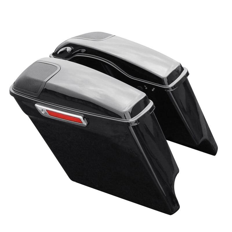 Alforja alargada extendida para motocicleta, parrilla con altavoz para Harley Touring FLHT FLHX Street Electra Road Glide 2014-2020