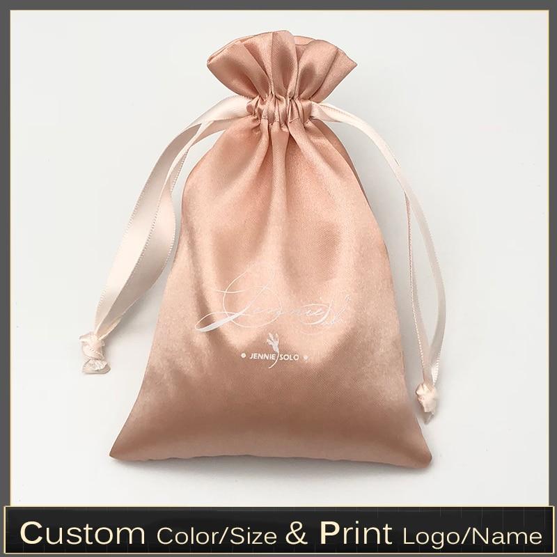Custom Logo silk satin Drawstring Bag Hair HandBag Beauty equipment Perfume makeup Packging Bags 60pcs/lot