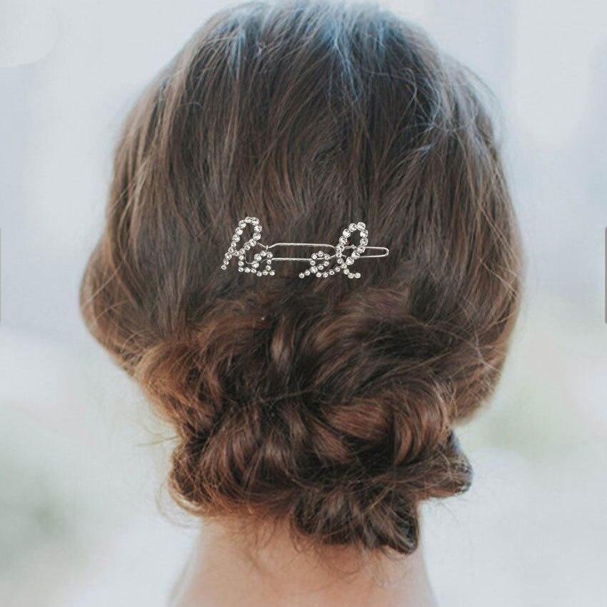 Hair-Clips Letter Barrette-Style Rhinestone Crystal Pearl Brand Jewelry Fashion Women