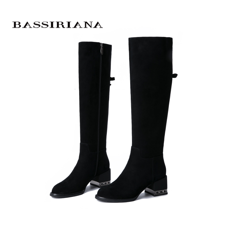 BASSIRIANA 2019 new winter women's shoes suede leather boots, rubber non-slip soles low-heeled shoes.