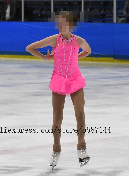 Vestido de patinação artística para meninas competição vestidos de patinação artística rosa personalizado roupas de patinação no gelo frete grátis