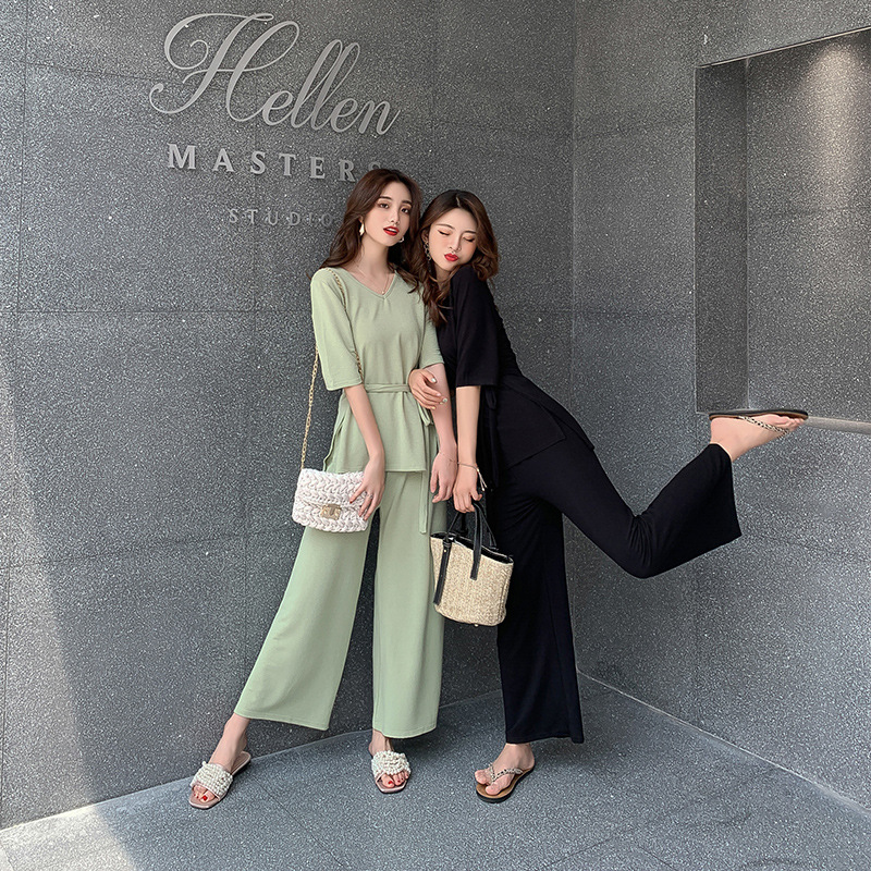 Online Celebrity Fashion Royal Sister Set V-neck Short Sleeve Waist Hugging Knit Slim Fit High-waisted Loose Pants Two-Piece Set