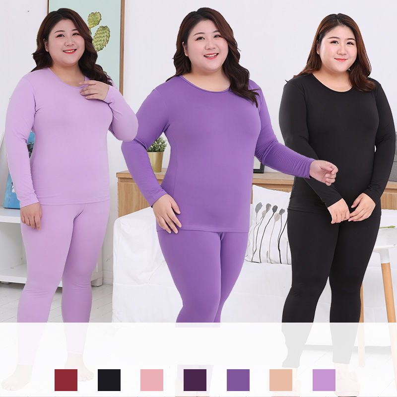 Long Sleeve Home Clothes Pyjamas Women Plus Size Thermal Long Johns Autumn Solid Warm Thermal Pijama Mujer 3XL 4XL 5XL 90KG Wear