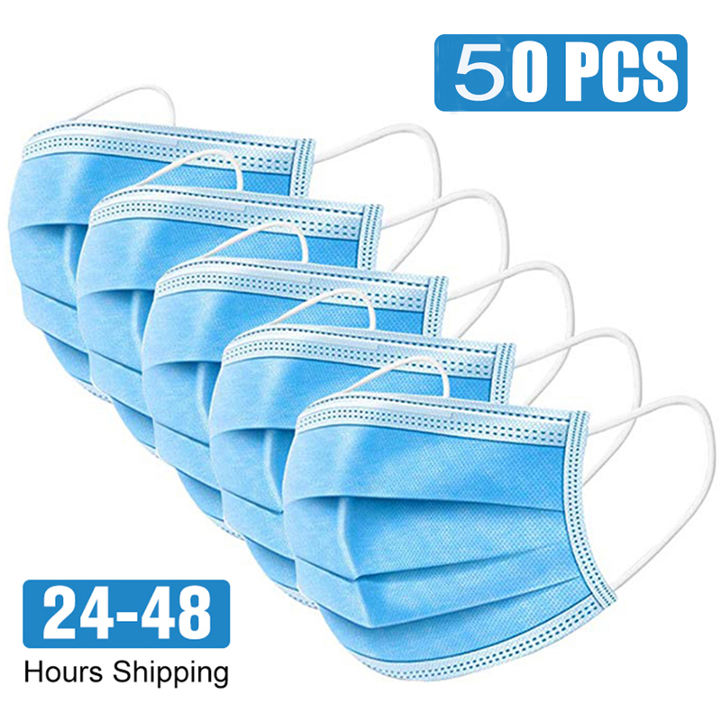 50pcs KZ01 Protective Mask Disposable Protect 3 Layers Filter Dustproof Earloop Non Woven Mouth Masks 48 Hours Shipping