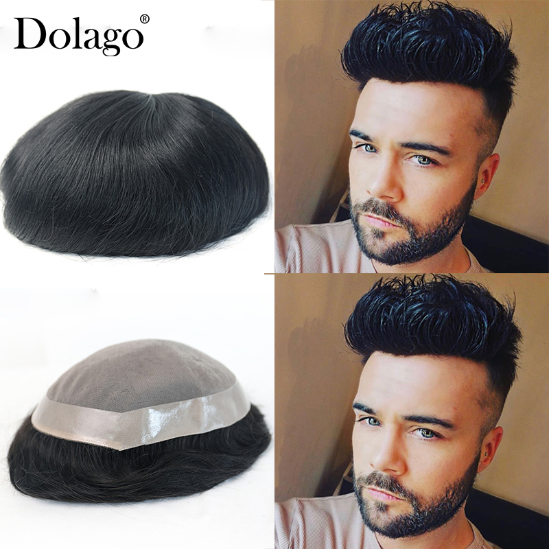 Fine Mono 8x10 Toupees Durable Hairpieces Lace Thin PU Replacement System For Men Dolago Natural Remy Hair Straight Human Hair