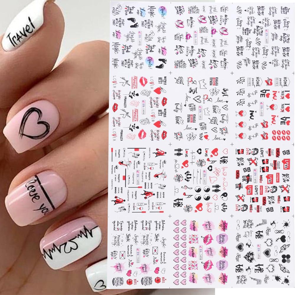 12 adet sevgililer manikür aşk mektubu çiçek kaydırıcılar çivi yazıtlar Nail Art dekorasyon su Sticker İpuçları GLBN1489-1500