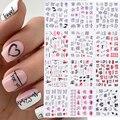 12pcs Valentines Manicure Love Letter Flower Sliders for Nails Inscriptions Nail Art