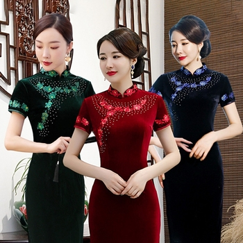 New Embroidery elegant woman fashion long Chinese style temperament Qipao dress improved stand collar Chinesestyle cheongsam 4XL