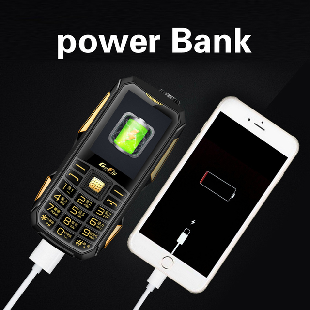 Color LED 6800mAh Power bank GSM mobile phone magic voice torch  speed dial  FM radio cheap celular Russian keyboard cell phones