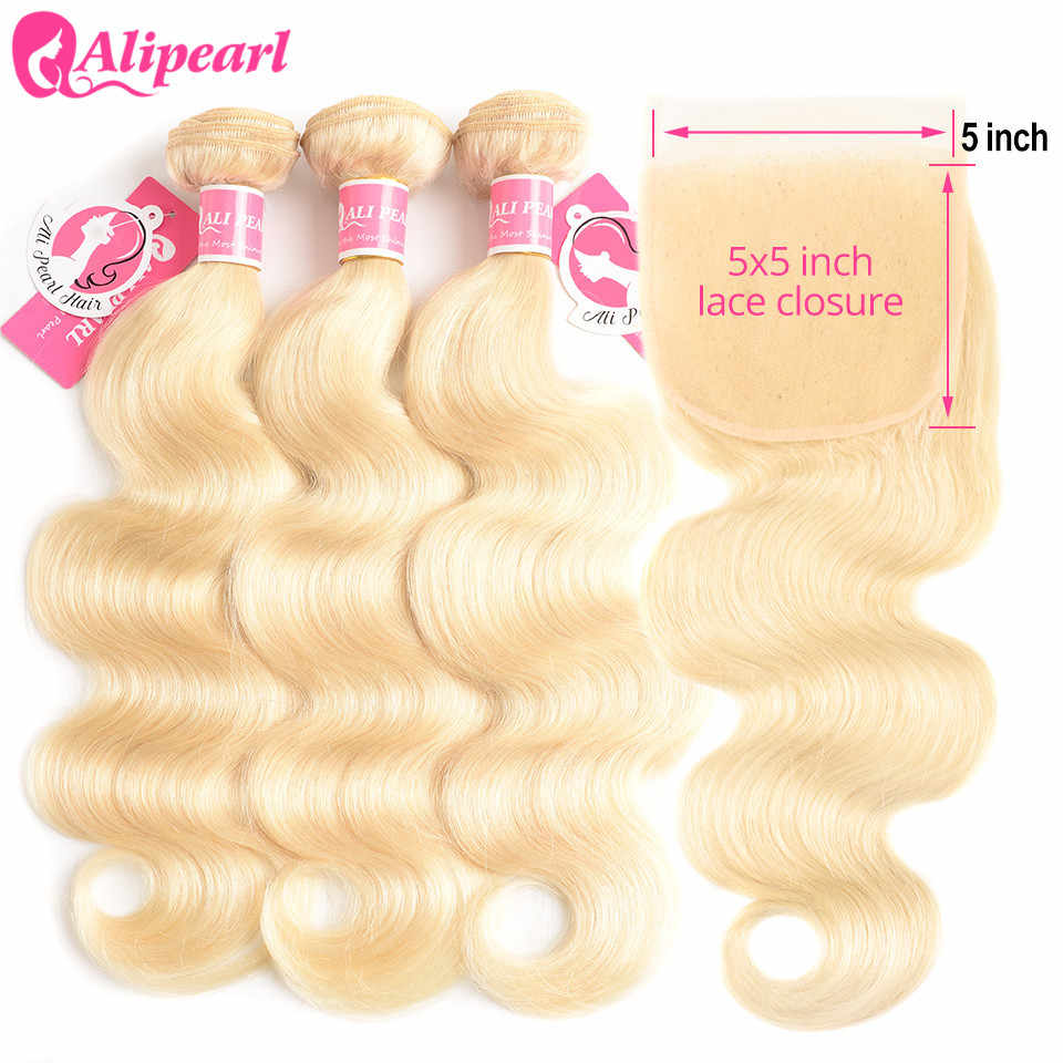 AliPearl 613 Blonde Bundles With Closure 5x5 Free Part Body Wave Brazilian Hair Weave 3 Bundles With Closure Remy Hair Extension