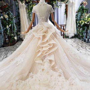 Image 5 - HTL634 elegante vestido de novia con tren de cuello alto de manga corta de encaje de cristal vestido de novia volante tren vestidos de noche vintage