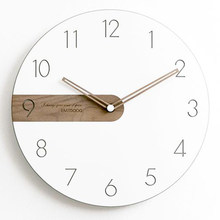 Wood Wall Clock Modern Design Living Room White Silent Home Nordic Clock Luxury Children Vinyl Wanduhr Decoration Watch WKP523(China)