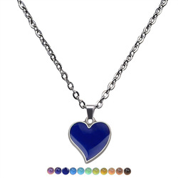 Temperature Change Necklace with Silver Color Heart Shaped Mood Emotion Feeling Necklace Stainless Steel Jewelry for Unisex
