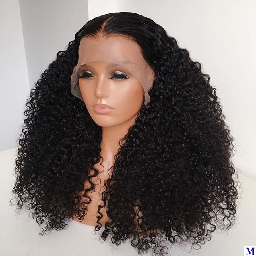 180Density Afro Kinky Curly 360 Lace Frontal Human Hair Wigs With Baby Hair Pre Plucked Full Lace Wigs Natural Hairline Remy