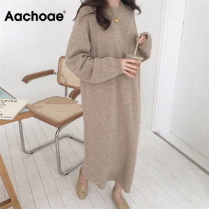 Aachoae Women Autumn Loose Long Dresses 2020 Solid O Neck Knitted Sweater Dress Female Long Sleeve Casual Dress Robe Femme