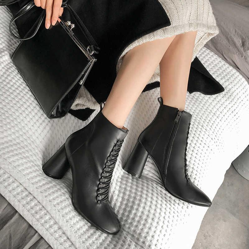 Phụ Nữ Mắt Cá Chân Giày Da Thật Chính Hãng Da PLUS SIZE 22-26.5 Cm Chiều Dài Chân Giày Cho Nữ Giày Chelsea Boot Cao Gót giày