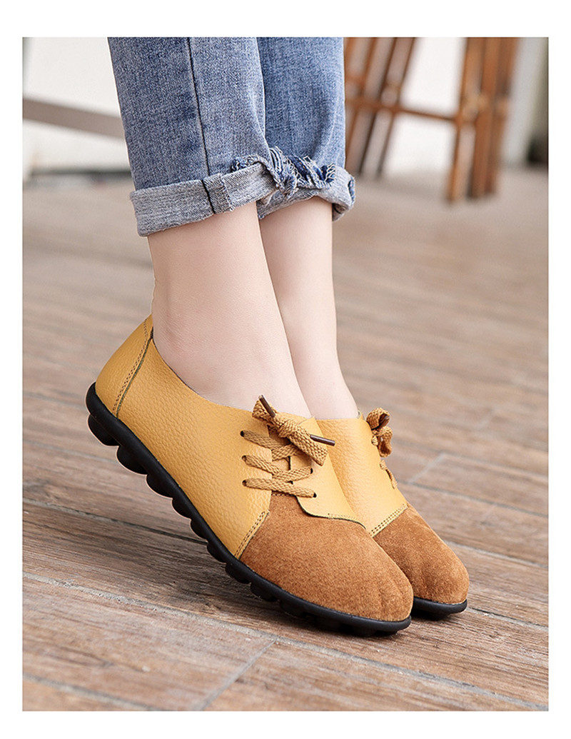 2019 New Leather Women Plus Size Sewing Flats Moccasins Loafers Ballet Flats Women Comfortable Soft Casual Shoes Ladies VT634 (14)