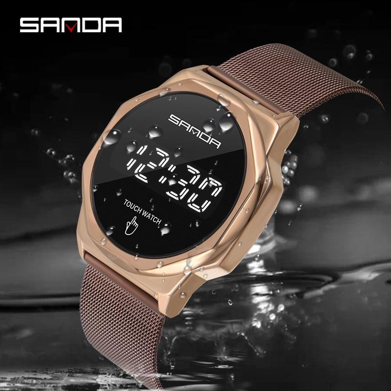 Montre-Bracelet numérique pour hommes, marque supérieure SANDA LED, mode, horloge, écran tactile, montre pour hommes 2