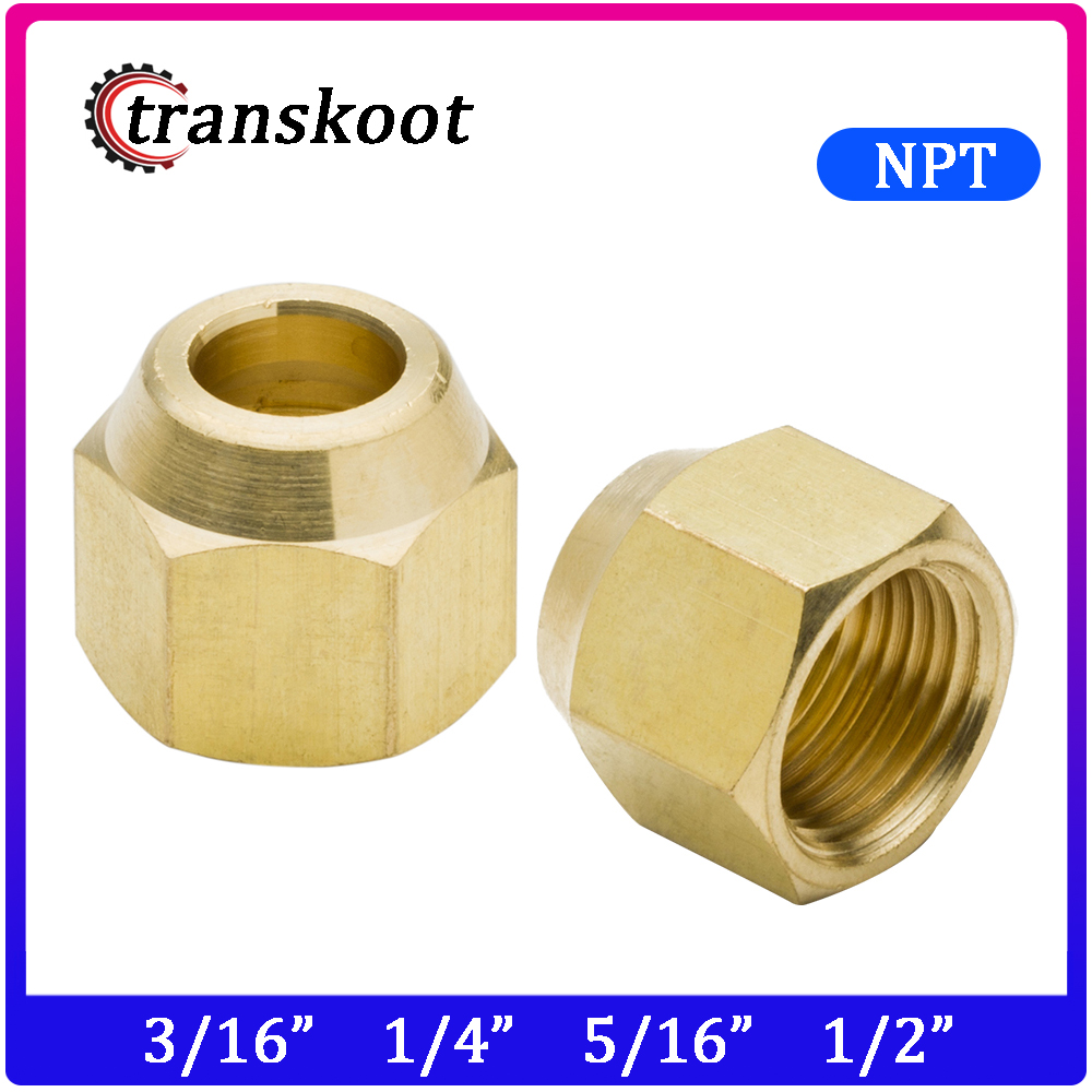 """FIVE Brass  3//8/"""" SAE FLARE NUTS OIL AIR GAS  BRASS TUBE FITTING"""